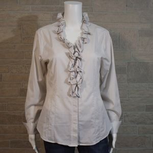 Antonio Melani Tan Stripe Ruffle Blouse Shirt 10